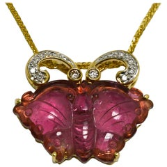 Art Nouveau Tourmaline Rubellite Butterfly Carved Gemstone Necklace