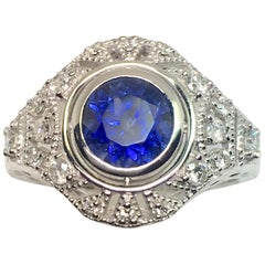 Natural Round Sapphire Diamond Cocktail Cluster Engagement Ring
