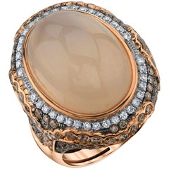 15.05 Carat Oval Moonstone with White and Brown Diamonds 18 Karat Rose Gold Ring