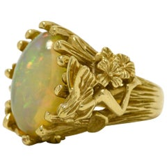 Large Fire Opal Fairy Dome Cocktail Ring Gold Wood Nymph Pixie Sprite Jewelry