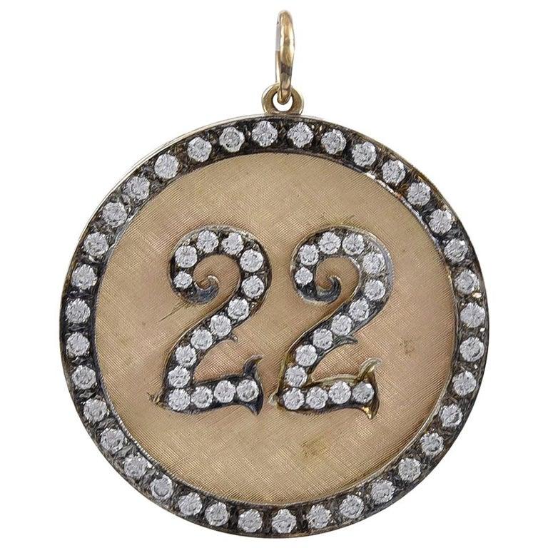 Large Gold and Diamond 22 Pendant/Charm