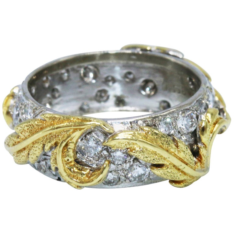 Diamond, Gold and Platinum Band Ring