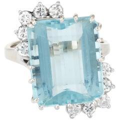 Aquamarine Diamond Cocktail Ring Vintage 14 Karat White Gold Estate Fine Jewelry