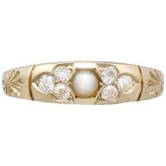 1888 Antique Victorian Seed Pearl and Diamond Yellow Gold Dress Ring