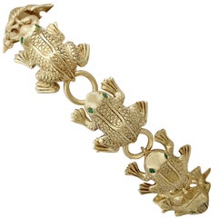 1980s Italian Emerald and Yellow Gold 'Frog' Jewelry Set