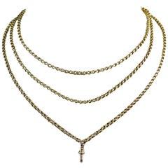 Antique Victorian Gold Long Guard Chain, Circa 1880s