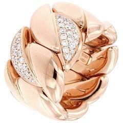 Band Ring Extensible with Diamonds 18 Karat Rose Gold