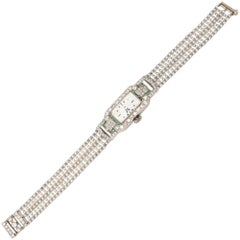 Concord Ladies Platinum Diamond Emerald Pearl Wristwatch