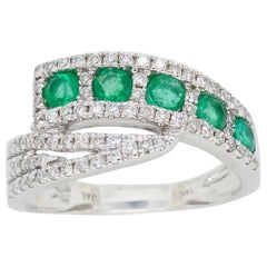 Diamond and Emerald Five-Stone Bypass Ring