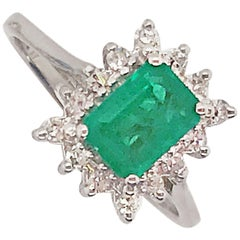 .90 Carat Emerald and Diamond Halo Ring Set in 14 Karat White Gold