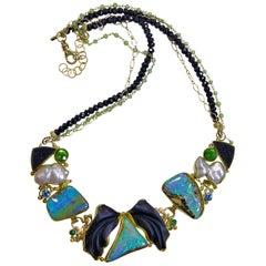 Jennifer Kalled Opal Necklace Black Jade Pearl Peridot Blue Zircon 22k 18k 14k