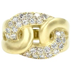 Marlene Stowe Interlocking Style Ring 18 Karat Yellow Gold and Diamonds