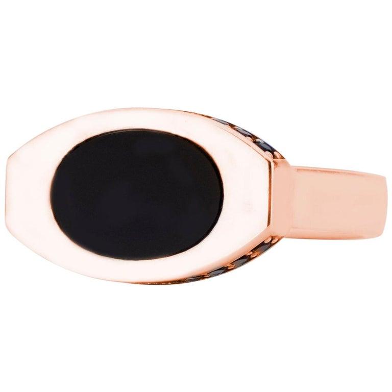 14 Karat Rose Gold and Black Onyx Oblong Signet