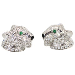 Cartier Diamond Panthere Stud Earrings 18 Karat