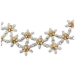 White Diamond Yellow Diamond 18 Karat Flower Basket Bracelet 6.30 Carat