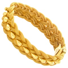 Gold Woven Mesh and Teardrop Bracelet