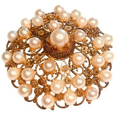 Victorian Large Round Yellow Gold Filigree Pearl Brooch Pendant with Hinged Bale