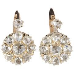 Magnificent Victorian 3.20 Carat Rose Cut Diamond Rare Cluster Earrings