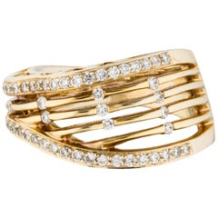 18 Karat Yellow Gold Openwork Diamond Ring 0.58 Carat