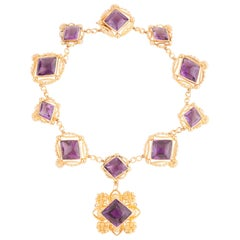 Antique Victorian 18 Karat Gold and Amethyst Necklace