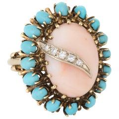 Angel Skin Coral Turquoise Diamond Cocktail Ring Vintage 14 Karat Gold Estate