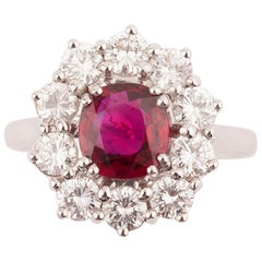 Certified 1.64 Carat Ruby and Diamond Ring