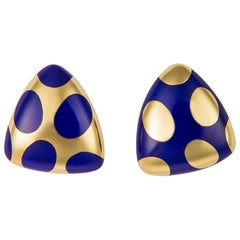 Tiffany & Co. Lapis Polka Dot Earrings