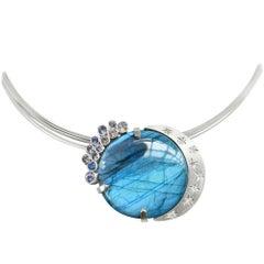 Labradorite Diamond and Sapphire Silver Pendant and Brooch