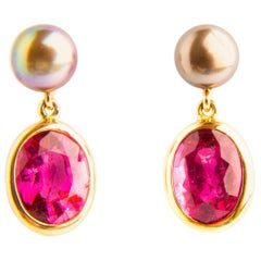 Rubelite 5.56 Carat Earrings with Black Pearls in Yellow Gold 18 Karat