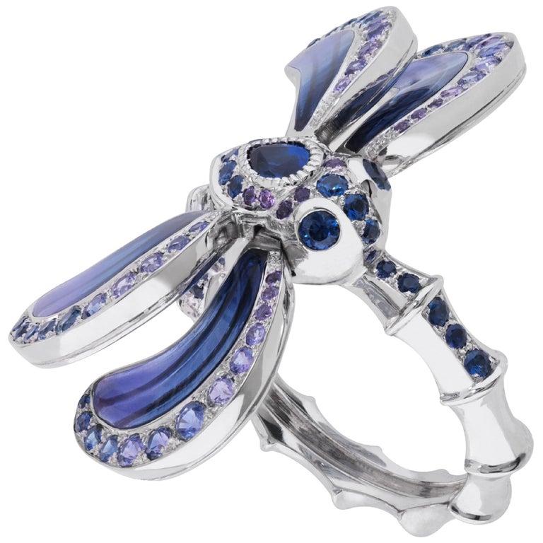 LALIQUE Libellule Sapphire Ring Size 52