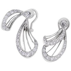 LALIQUE Libellule Diamond Earrings White Gold