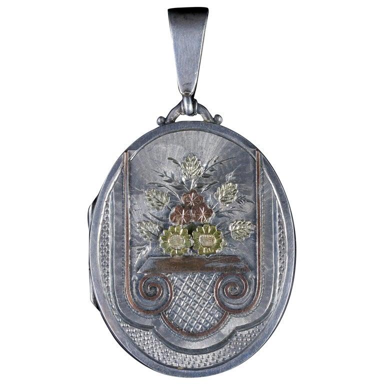 Antique Victorian Motifs Silver Locket Dated Birmingham, 1882