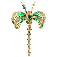 LALIQUE Libellule Emerald Pendant 18K Gold