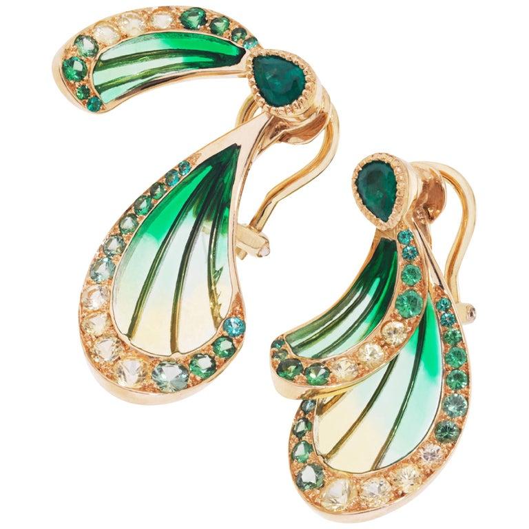 Libellule Emerald Earrings Yellow Gold