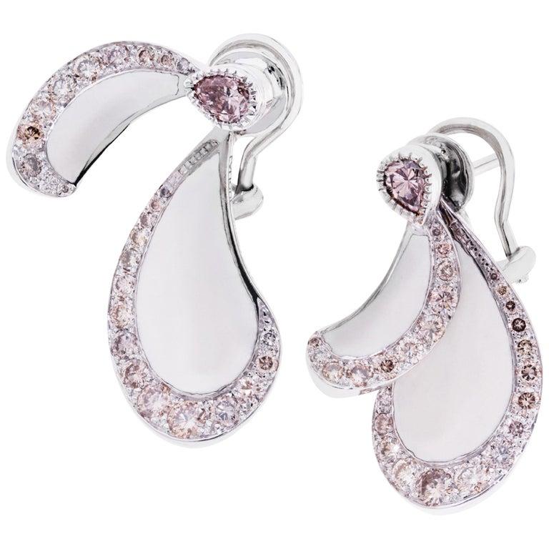 Libellule Champagne Diamond Earrings White Gold