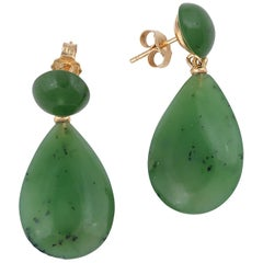 Pair of Jade and Gold Pendant Earrings