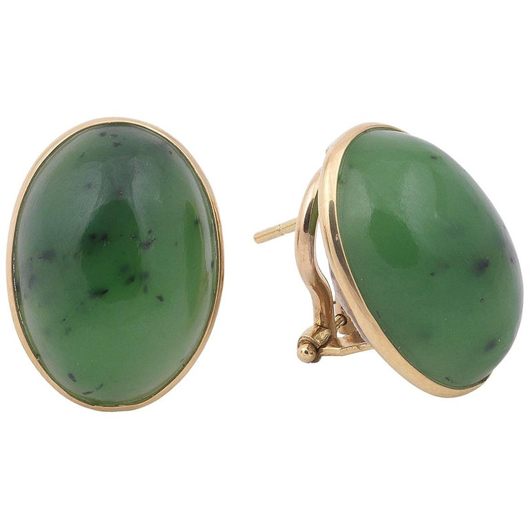 Pair of Jade and Gold Earrings