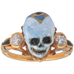 A.Codognato Small Enamel Diamond Gold Skull Memento Mori Ring