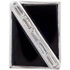 .35 Carat Diamond Onyx White Gold Cocktail Ring