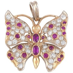 Diamond and Ruby Butterfly Pendant