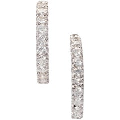 1.68 Carat Diamond Half Hoop White Gold Dangle Earrings