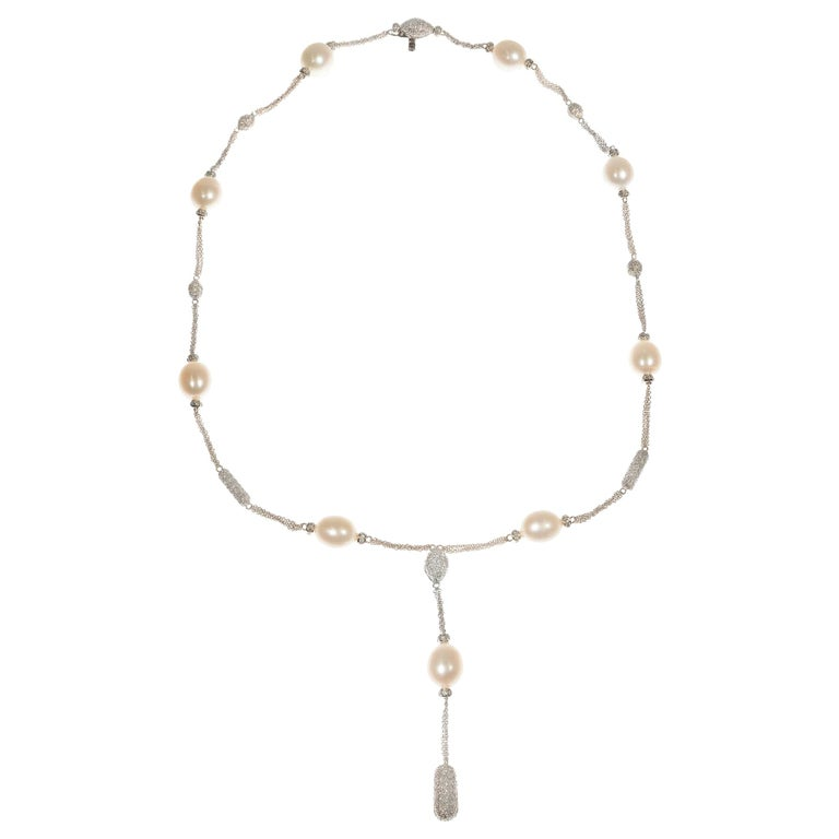 Pearl Pave Diamond White Gold Drop Necklace