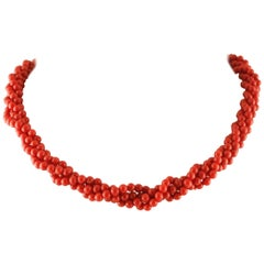 Coral Yellow Gold Necklace