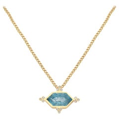 Zoe and Morgan 18 Karat Yellow Gold Aquamarine and Diamond Araceli Necklace