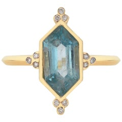 Zoe and Morgan 18 Karat Yellow Gold Aquamarine and Diamond Araceli Ring