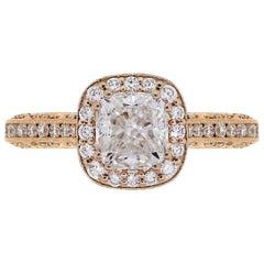 Tacori HT2550 GIA Certified 2.01 Carat Cushion Diamond Halo Engagement Ring