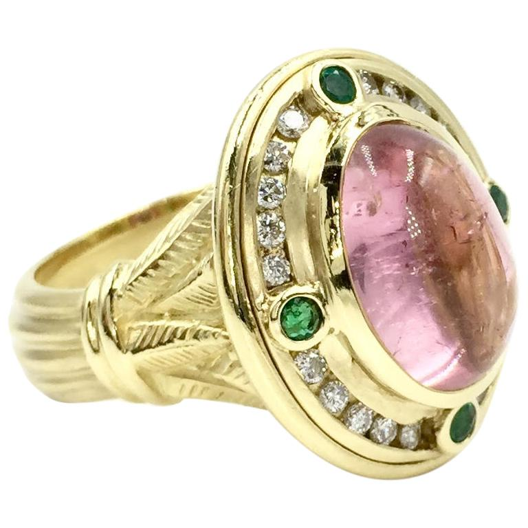 18 Karat Pink Tourmaline, Emerald and Diamond SeidenGang Cocktail Ring