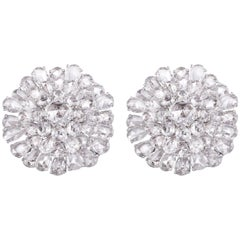 9.65 Carats Fancy Rose Cut Diamond Statement Earrings Studs Clip ons