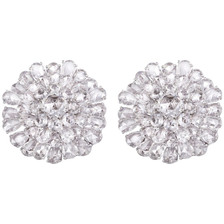 9.65 Carats Fancy Rose Cut Diamond Statement Earrings Studs Clip ons