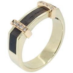 Ring, 18 Carat Gold, Diamonds, Ebony Wood, Handmade